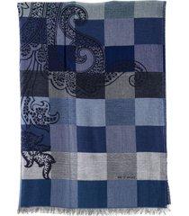 etro vichy jacquard scarf with paisley