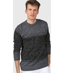 sweater gri moni tricot cullo redondo jaspeado