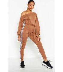 slash neck side stripe jumpsuit, camel