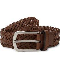 slim braided leather belt