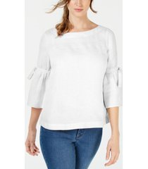 charter club linen bell-sleeve top, created for macy's