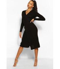 geribbelde gebreide midi wikkel jurk, zwart