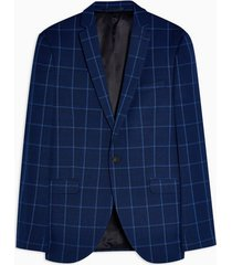 mens blue navy super skinny fit windowpane check single breasted suit blazer with notch lapels