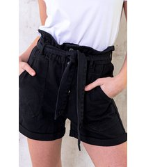 high waist short denim black
