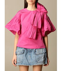red valentino top red valentino top in taffeta with ruffles