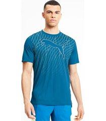 graphic cat hardloop-t-shirt met korte mouwen voor heren, blauw, maat l | puma