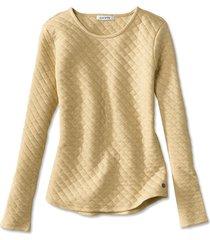 quilted crewneck sweatshirt, heathered honey, x large