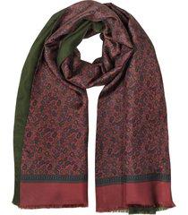 forzieri designer men's scarves, modal & silk mini paisley print men's fringed scarf