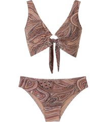 amir slama printed bikini set - neutrals