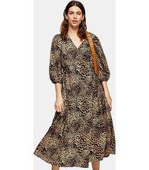 natural animal print kimono wrap midi dress - natural