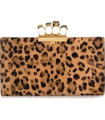 alexander mcqueen four-ring leopard-print clutch - black
