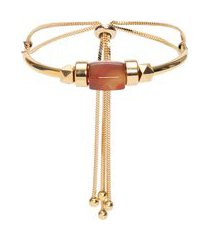 pulseira feminina ajustável ágata marrom - dourado