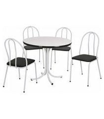 conjunto de mesa de jantar com 4 cadeiras leila corino branco e preto