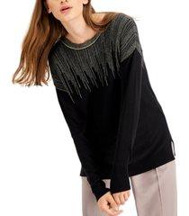 alfani petite metallic-lines sweater, created for macy's