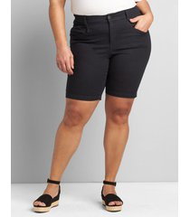 lane bryant women's straight fit slim bermuda short 20 black