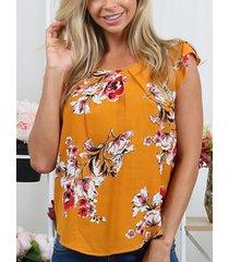 blusa con mangas casuales y estampado floral al azar cuello