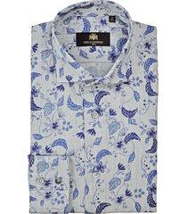 circle of gentlemen overhemd brad linnen blader print cutaway slim fit grijs