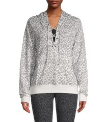 jessica simpson women's printed lace-up hoodie - white ocean - size xl