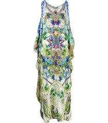 camilla moon garden scarf tie kaftan dress - blue