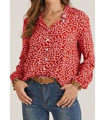 camicetta casual da donna con bottoni con stampa floreale a maniche lunghe con colletto in piedi