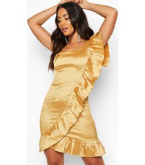 taffeta one shoulder ruffle dress, gold