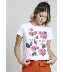 "blusa feminina ""natural spirit"" manga curta decote redondo off white"