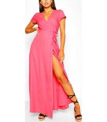 plunge front tie wrap maxi dress, coral