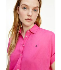 tommy hilfiger women's relaxed fit cotton voile shirt hot magenta - 14