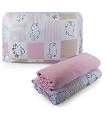 jogo de cama sulbrasil berço em malha 3 peças - ovelhinha rosa