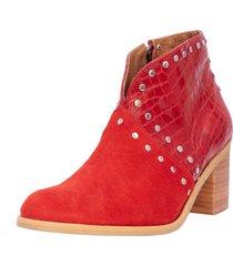 botín cuero inés rojo kuss