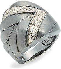 black rhodium-plated sterling silver & diamond midi ring