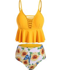 ladder cutout sunflower butterfly peplum tankini set