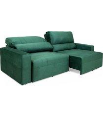 sofá 4 lugares herval village, retrátil e reclinável, veludo verde