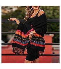 zapotec cotton rebozo shawl, 'zapotec night splendor' (mexico)