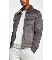 river island mens grey faux suede zip western jacket