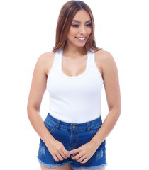 blusa dama atletica corte mariposa en espalda encaje en todo el contorno de cuello y sisa  blanco s bocared emma 27231