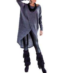 zanzea más el tamaño s-5xl mujer camisas jerseys ocasional sólida otoño tops manga larga del o-cuello blusas dobladillo asimétrico blusa azul -azul