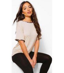 leopard print ringer t-shirt and legging set, stone