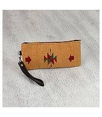 leather accent zapotec wool wristlet, 'caramel geometry' (mexico)