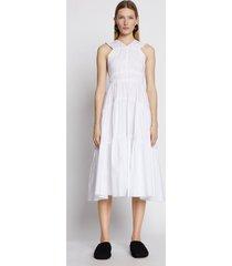 proenza schouler poplin gathered tiered dress white 8
