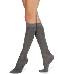 calzedonia - patterned knee-high socks, one size, grey, women