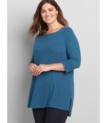 lane bryant women's softest touch boatneck tunic 22/24 teal