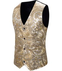 floral sequined single breasted tuxedo vest