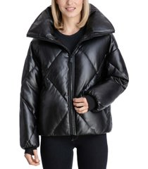 bcbgeneration faux-leather puffer coat