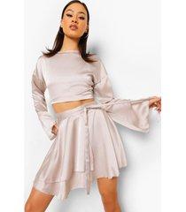 blouse met fluitmouwen en rok met ceintuur, oyster