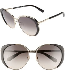 women's salvatore ferragamo 60mm gradient cat eye sunglasses - light gold/ black