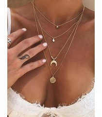 gold color moon circle multi-layer necklace