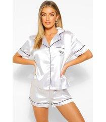 airplane mode satijnen pyjama shorts set, zilver