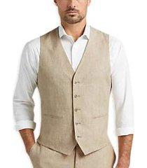 joe joseph abboud tan chambray slim fit suit separates vest