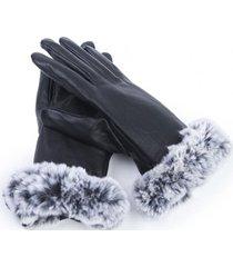 guantes cuero peludo negro humana